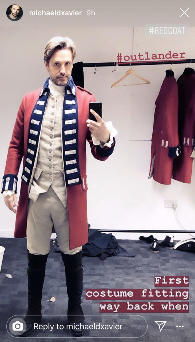 @michaelxavierUK's first costume fitting and transformation into the real deal Lieutenant Hamilton Knox in Season 5 of @outlander_starz! ❤️ Redcoat before the action and during the action. #Outlander #OutlanderS5  #michaelxavier 📸: Michael's Instagram.