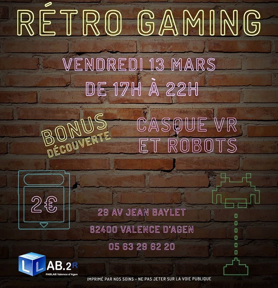 Le FabLab de Moissac participera à cette soirée Rétro Gaming organisée par notre partenaire et voisin @Lab.2r de Valence d'Agen. On s'y croise ?!  #fablab #numerique #informatique #fab #diy #maker #tarnetgaronne #occitanie #midipyrenees #sudouest #retrogaming #retrogameur