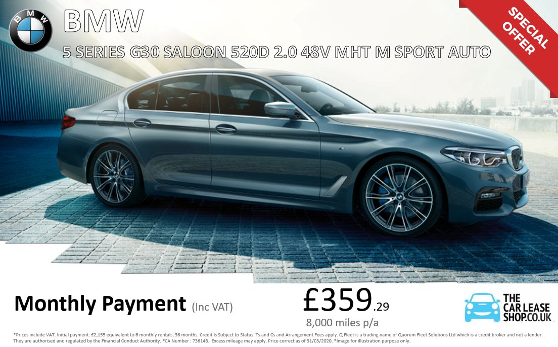 BMW 5 Series special offer!🎉🚗  Follow the link to our website for more details👇🏻 https://www.thecarleaseshop.co.uk/personal-lease-cars/bmw/5-series-saloon/5-series-520-saloon-20-d-mht-190-m-sport-4dr-auto-start-stop-573261758 …  Contact us today for more details - sales@thecarleaseshop.co.uk   #carsales #carleasing #contracthire #bmw #bmwgroup