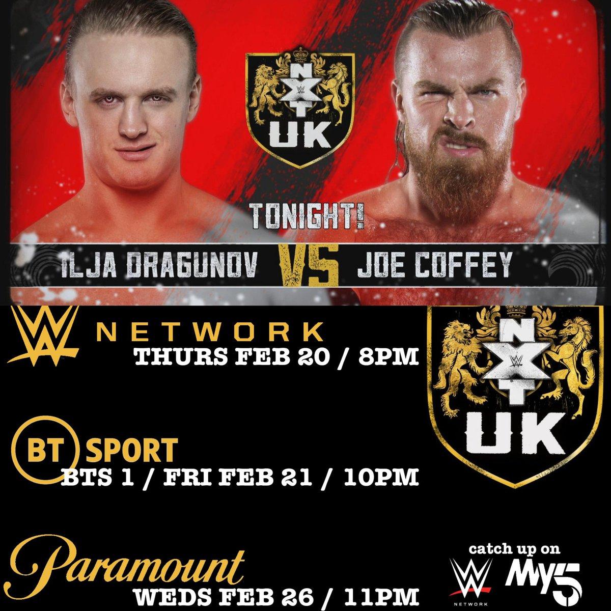 TONIGHT on @NXTUK‼✅@Tyler_Bate vs @JosephConners✅@JinnyCouture crashes the show!✅@NoamDar in action!✅ Main Event: @UNBESIEGBAR_ZAR vs @Joe_CoffeyTONIGHT 8PM (3PM US EST) @WWENetworkFRI 10PM - @btsport 1WEDS 11PM - @Channel5Sport#WWE #NXTUK #WeAreNXTUK #WWEonBT
