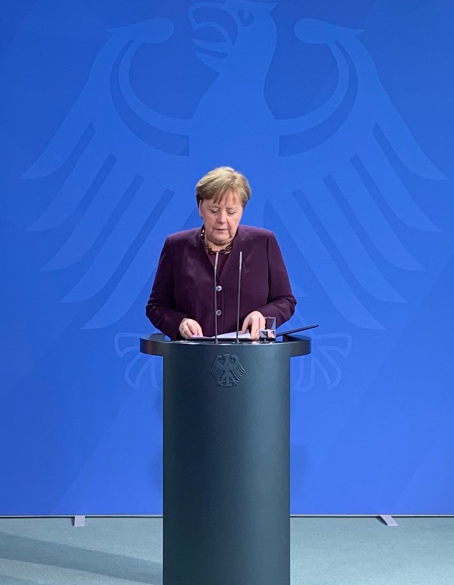 """Merkel vows to """"stand against those who try to divide our society"""" in face of #Hanau attack. """"Racism is a poison. Hate is a poison in our society.""""  Sees attack in context of #NSU #luebcke #Halle right wing extremist attacks in Germany. <br>http://pic.twitter.com/QNMCpHApZ4"""