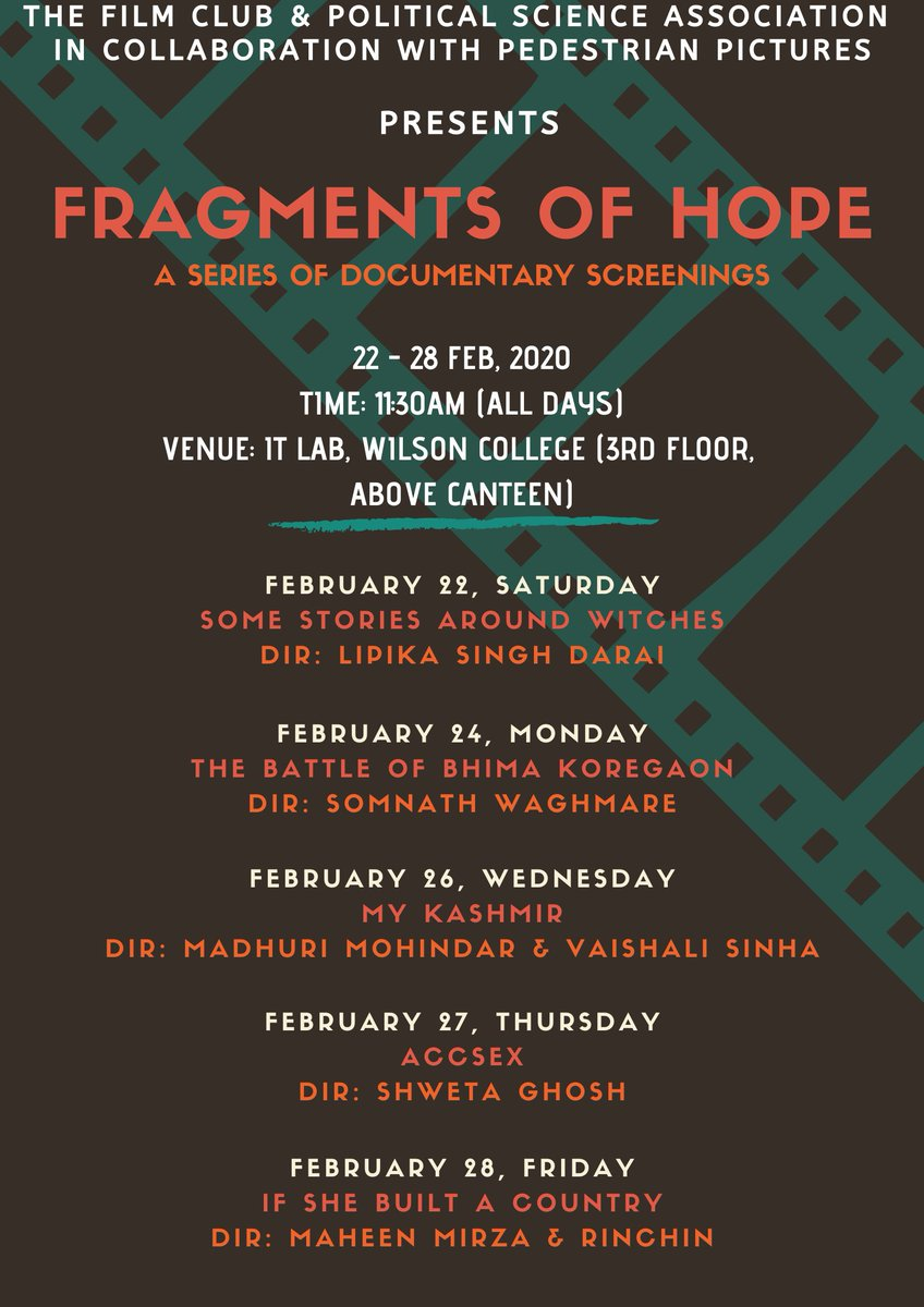 We are organising a series of #Documentary screenings along with The Film Club of Wilson College and #PedestrianPictures.pic.twitter.com/wQ5kQmiG6Y