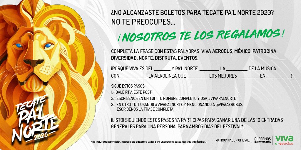 ¡RT! Este año Viva te lleva al festival más ascendente de México.🦁✈️ Sigue nuestra dinámica y gana tus pases para irte a Tecate Pa'l Norte 2020. #VivaPalNorte 🎸 https://t.co/FJixgA0Ko3 *Las primeras 10 personas en publicar y responder correctamente serán las ganadoras. https://t.co/deczbGBTpW
