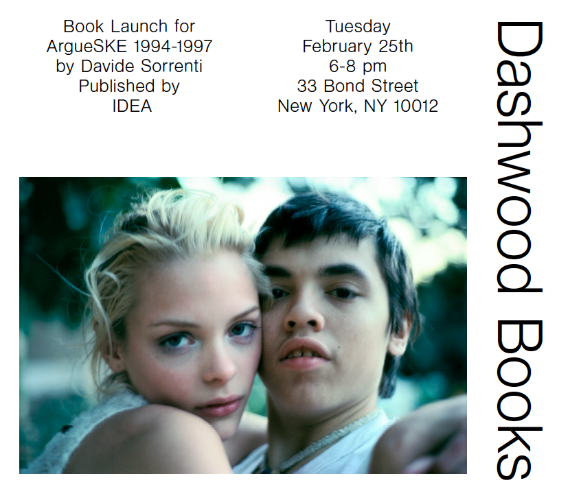 Please join us on Tuesday February 25th from 6-8pm for a book launch for ArgueSKE 1994-1997 by Davide Sorrenti.