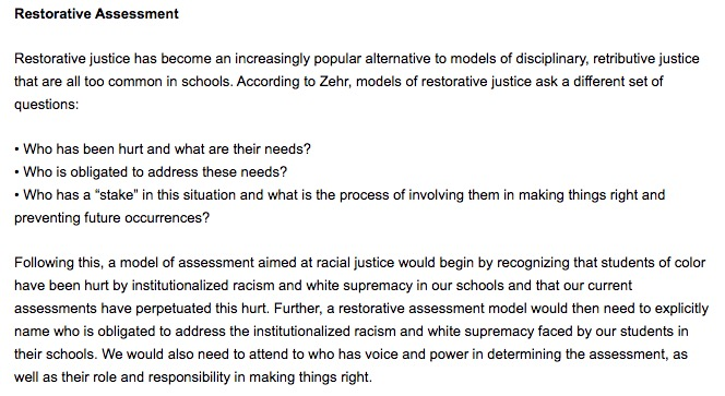 Prof. Au argues that any high-stakes assessment must take into account who has been harmed by these practices, and the responsibility to make things right.  https://www.rethinkingschools.org/articles/racial-justice-is-not-a-choice…pic.twitter.com/nRcaoWIq5r