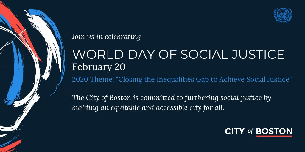 February 20 is #WorldDayofSocialJustice declared by @UN. We're committed to providing access for people of all language backgrounds and abilities, building an equitable and accessible city for all http://boston.gov/LCA   @BostonLca @COB_ONS @BOSImmigrants @DisabilityBOSpic.twitter.com/mOqehgwBRa