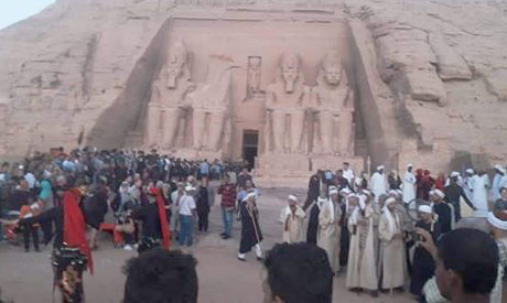 #Ramses II's face lights up in Aswan's Abu Simbel Temple on Saturday english.ahram.org.eg/News/363877.as…