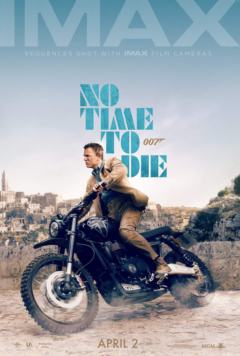 Check out the new IMAX poster for #NoTimeToDie , the first Bond film to be shot on IMAX cameras!pic.twitter.com/c5Pxua3Z0s