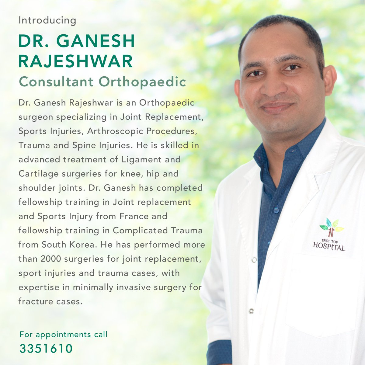Introducing Dr. Ganesh Rajeshwar, Consultant Orthopaedic. (ޑރ. ގަނޭޝް ރާޖޭޝްވަރު- ކަށީގެ ޚާއްސަ)  Learn more: http://bit.ly/2v119AZ   For more information call 3351610. #treetophospital #tth #treetop #maldives #health #wellness #healthcare #excellenceinhealthcare #orthopaedicspic.twitter.com/MWRLZ7jG4b