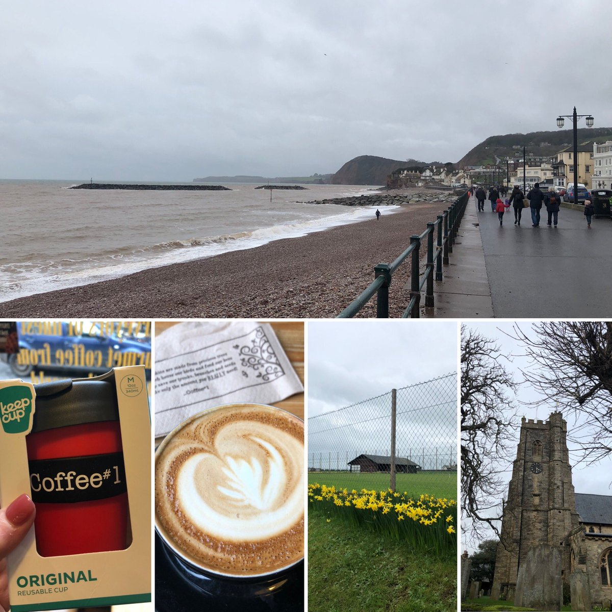 Sidmouth highlights from yesterday  #devon #seaside #quickpop One of #myhappyplaces   #coffee #coffeelover #coffeeshopvibes #flatwhite #beach #sea #freshair #norain https://t.co/I0n0L9J3A8