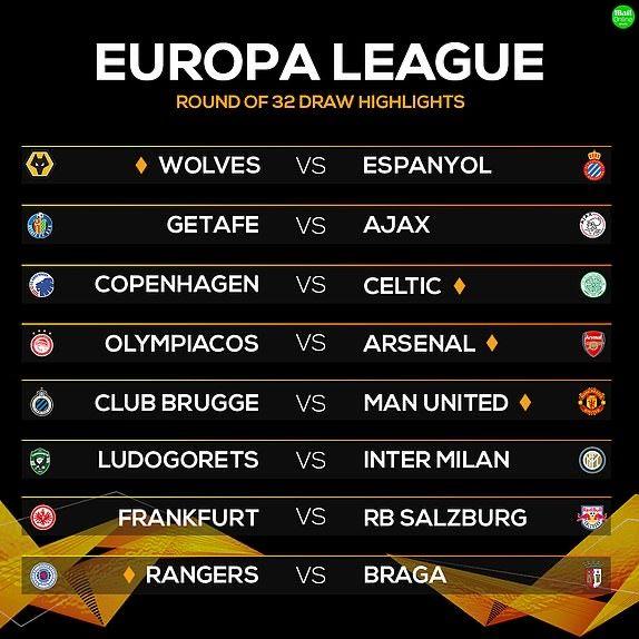 UEFA EUROPA LEAGUE #UELdraw  17:55 - Club Brugge vs Man Utd & FC Copenhagen vs Celtic  20:00 - Olympiakos vs Arsenal & Rangers vs Braga