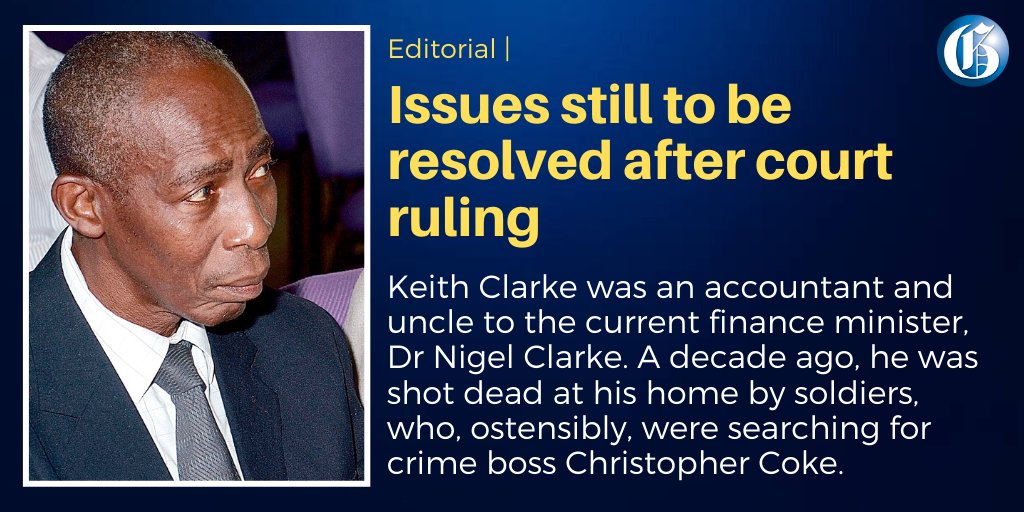 With the Holness administration making SOE's the centrepiece of its crime-fighting strategy, we would be surprised if the 'good faith' certificates, given to the soldiers charged for Keith Clarke's death, isn't headed for appeal. More here: http://jamaica-gleaner.com/article/commentary/20200220/editorial-issues-still-be-resolved-after-court-ruling#.Xk57htswVvg.twitter… #GLNROpedpic.twitter.com/a16Vfka0SI