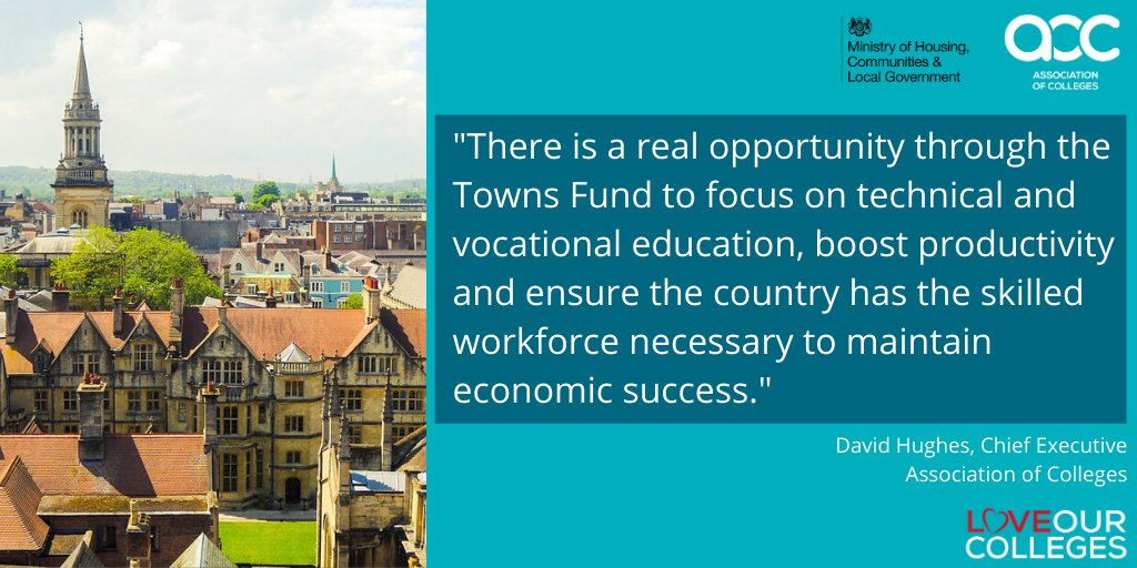 """There is a real opportunity through the #TownsFund to focus on technical and vocational #education, boost productivity and ensure the country has the skilled workforce necessary to maintain economic success."" - our Chief Executive @AoCDavidH."