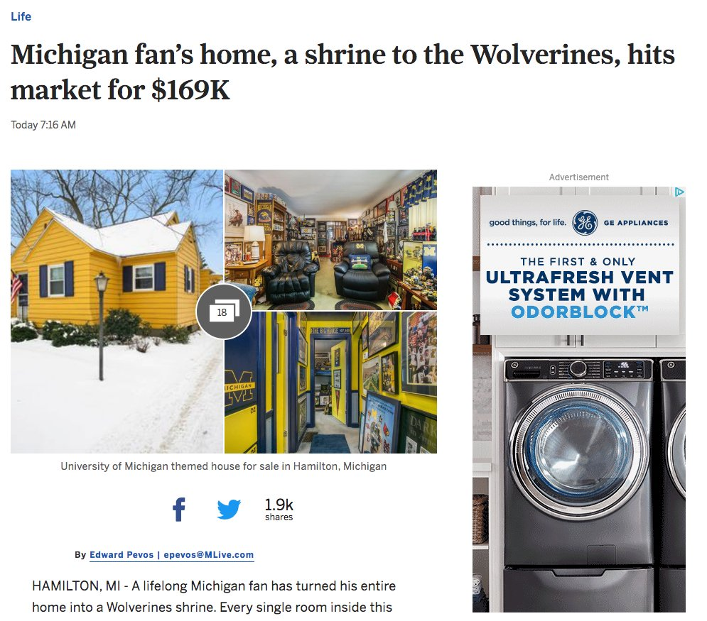 Michigan Man's afraid to sell it furnished & watch Ohio State fan have it bulldozed mlive.com/life/2020/02/m…