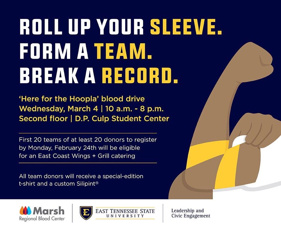 On Wednesday, March 4, #ETSU & @Marsh_Blood unite to set a record for the most units of blood collected in a single day. We need YOU! Roll up your sleeves, give blood, and save lives. Donors receive a t-shirt & coupon for free wings. Email serve@etsu.edu for info.