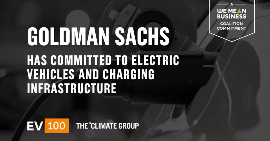 Congrats @GoldmanSachs for joining #EV100 & committing to #electrictransport! @ClimateGroup theclimategroup.org/news/goldman-s… #EV