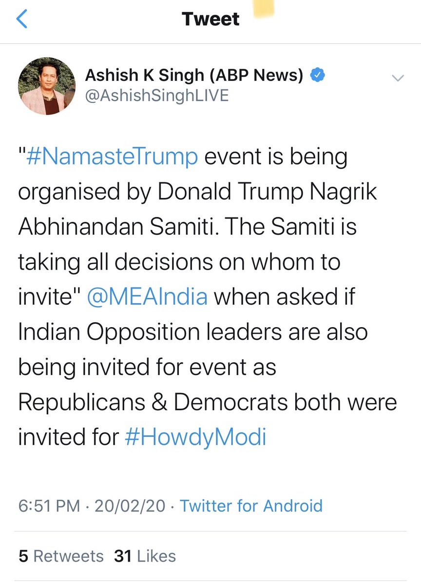 Dear P.M,Intriguing news from @MEAIndia !Pl state-1. Who is the President of Donald Trump Abhinandan Samiti?2. When was the invitation extended to U.S President & accepted?3. Why is President Trump then saying you have promised him a grand event with 7 million people?1/2