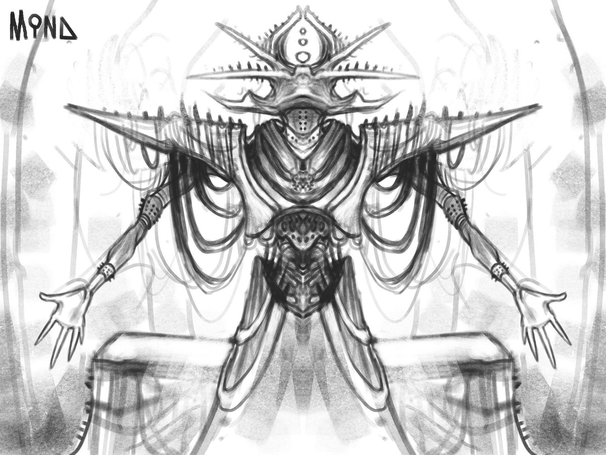 """""""Repent""""  Ah, I love symmetry. It's honestly my favorite thing in the whole world.  What do you think about this very symmetrical #doodle of a #scifi priest? Repent or no?  pic.twitter.com/NcVST6GbJC"""