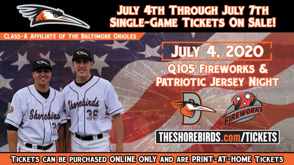 July 4th Tickets are on sale now! Purchase tickets to celebrate America with baseball, fireworks, and the Shorebirds!  Buy Tickets Now : http://bit.ly/SG-Tix-1   #FlyTogether | #Birdlandpic.twitter.com/fhM71p6vnf