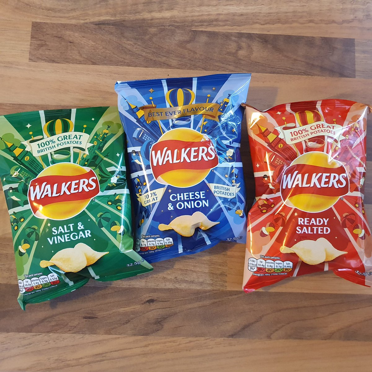 We now stock THE No.1 crisp brand. Three flavours of Walkers crisps available:  Salt and Vinegar,  Cheese and Onion and Ready Salted. Only 65p each.  #TheOB #Chatteris #Walkerscrisps pic.twitter.com/QKOAKz5Z78