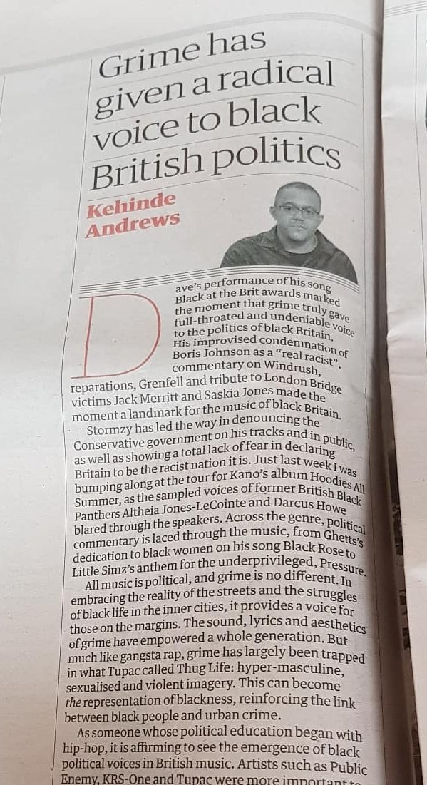 Still buzzing from @santandave performance at the #BritAwards and @therealkano concert last week. Its powerful to see politics at the centre of the music. theguardian.com/commentisfree/…
