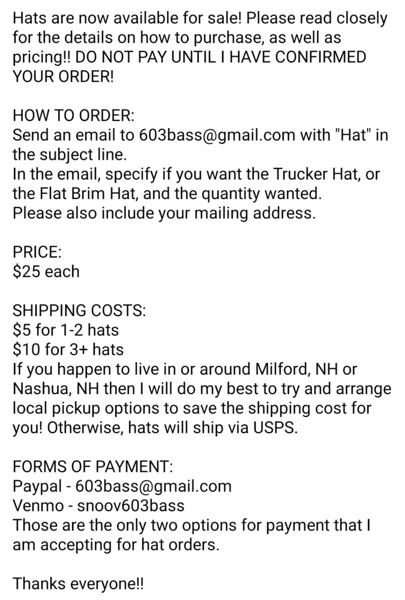 I'm happily kinda shocked here, I've almost sold out of the hats already. Still have a few flat brims left! Truckers are gone, but more are on the way soon! If you want one, please let me know! Check the pic for the rest of the details. pic.twitter.com/V73fR8rpcD