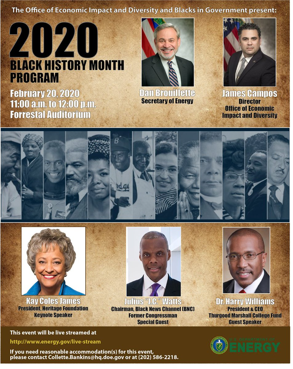TODAY at 11 AM, et. – DOE will host its celebration of #BlackHistoryMonth with a fireside chat on the impact of African Americans on our Nation. This event will be live streamed at https://www.energy.gov/live-stream