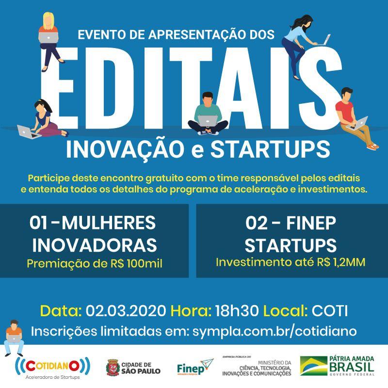 """A Finep convida para o evento gratuito """"Apresentação de Editais de Inovação e Startups"""", que ocorrerá em Brasília, no dia 02 de março.As inscrições são limitadas em: https://buff.ly/3bTapYm"""