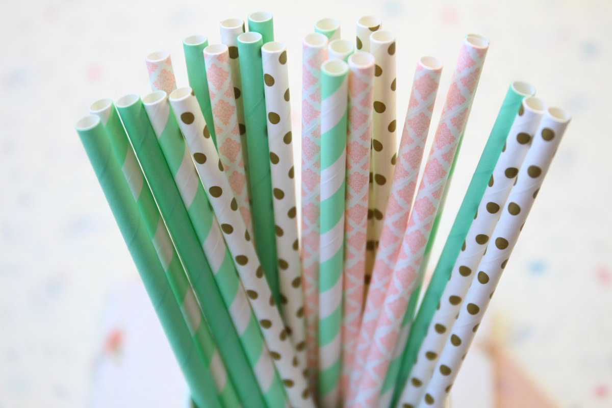 Get these shabby chic Minty Goodness mix set paper straws and more lovely mix sets available in our shop!  🥤 #partysupplies #wedding #birthday #summer #party #drinkstraws