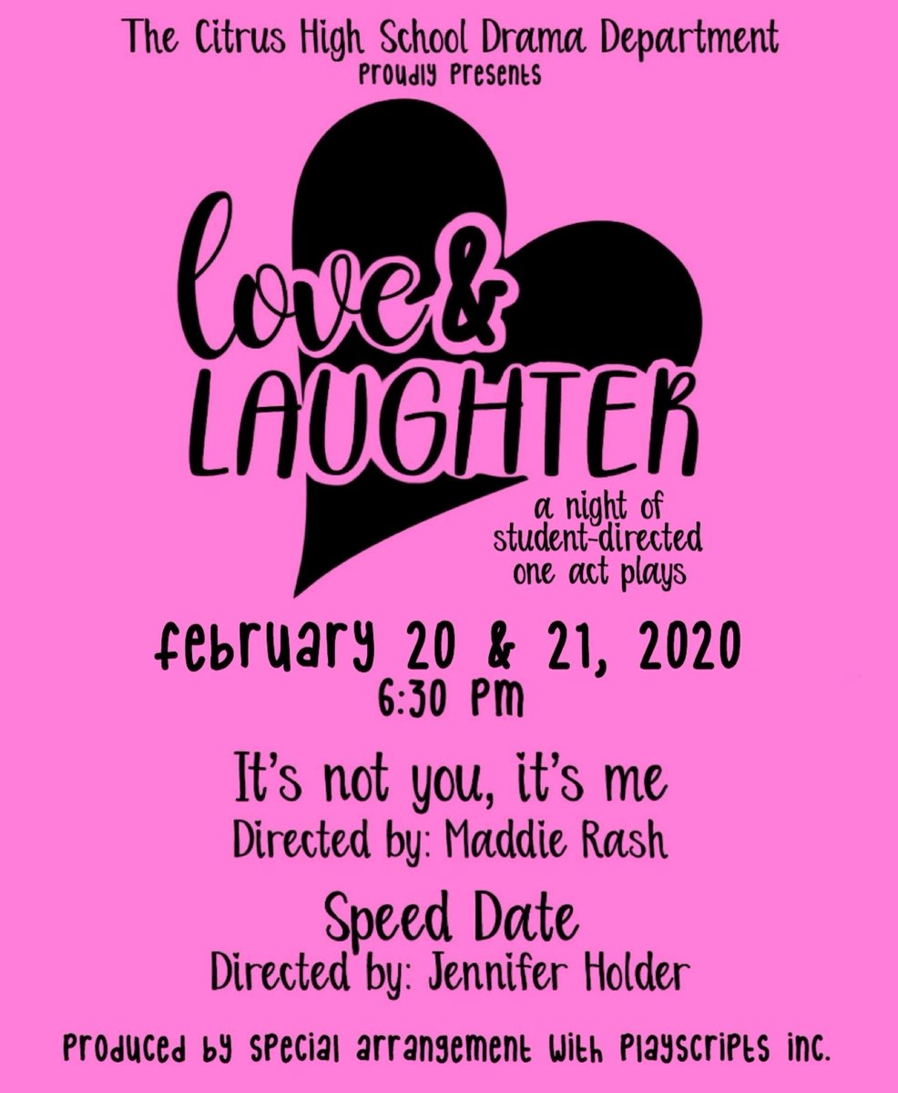 """Join the CHS Drama Dept tonight or Friday at 6:30PM for """"Love & Laughter"""", a night of student-directed one act plays. This show is completely produced by students. It's going to be amazing! #onehurricane @CitrusSchools<br>http://pic.twitter.com/vyVGc8QuCf"""