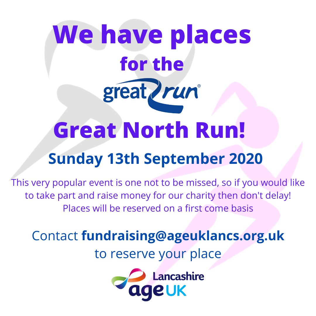 Don't miss out on reserving your place for this year's @Great_Run! We have 2 places left, send us a message or email fundraising@ageuklancs.org.uk to get involved. #BeYourGreatest #GreatNorthRun #GNR40 #Fitness<br>http://pic.twitter.com/FV7EDAM0tV
