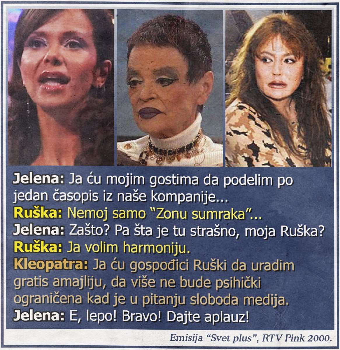 "Ruška Jakić ne čita ""Zonu sumraka"", Kleopatra ljuta!"