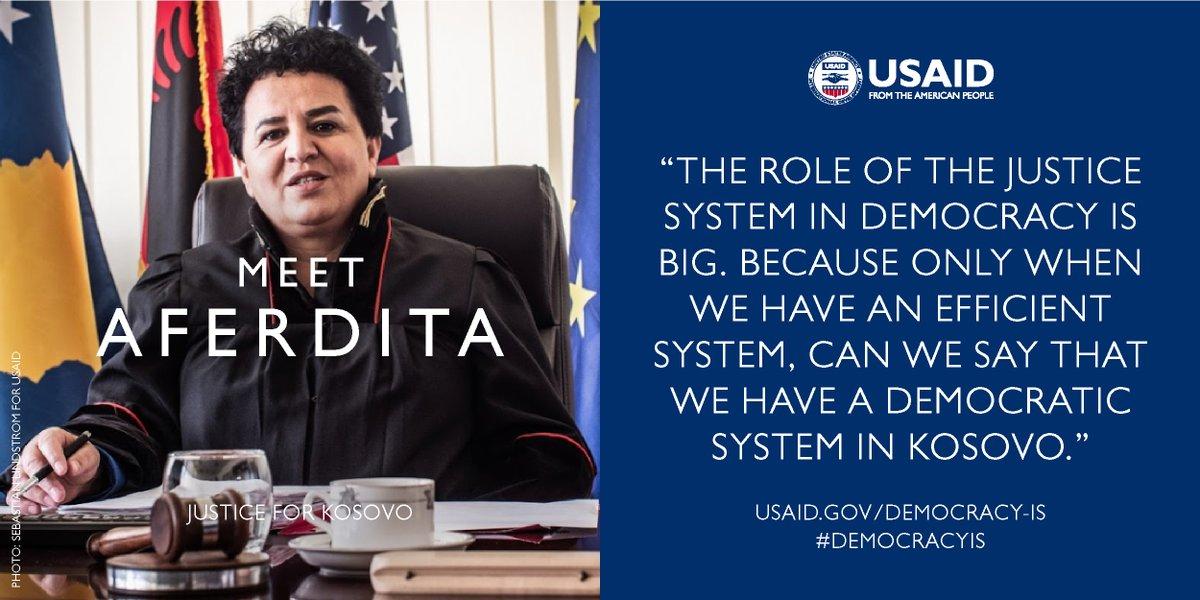 Meet our February Democracy Hero, Aferdita Bytyqi:  http://usaid.lin k/justice    #DemocracyIs