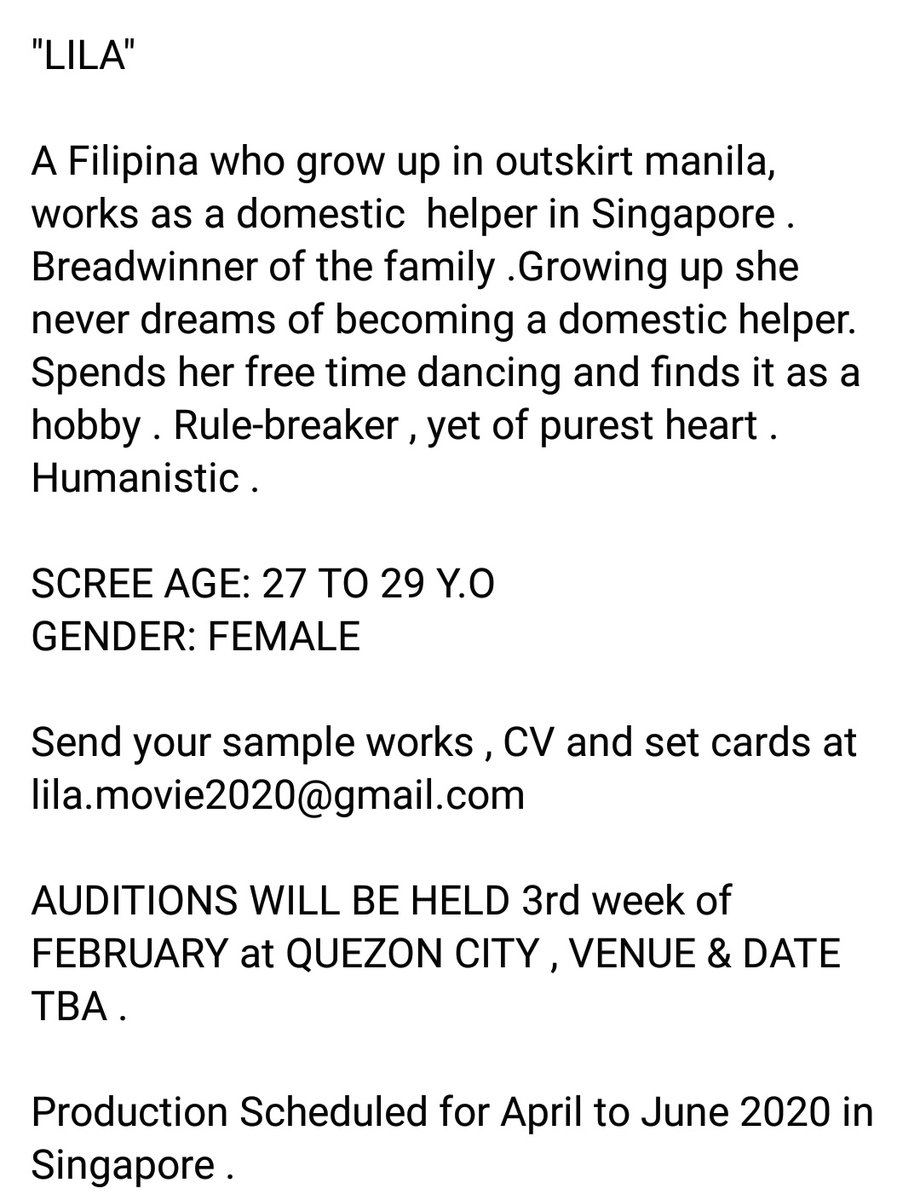 Helping a friend. baka may interasado? Casting call for a singaporean feature film. Kindly Send your CV and setcards at lila.movie2020@gmail.com pic.twitter.com/G5IgO9b08f