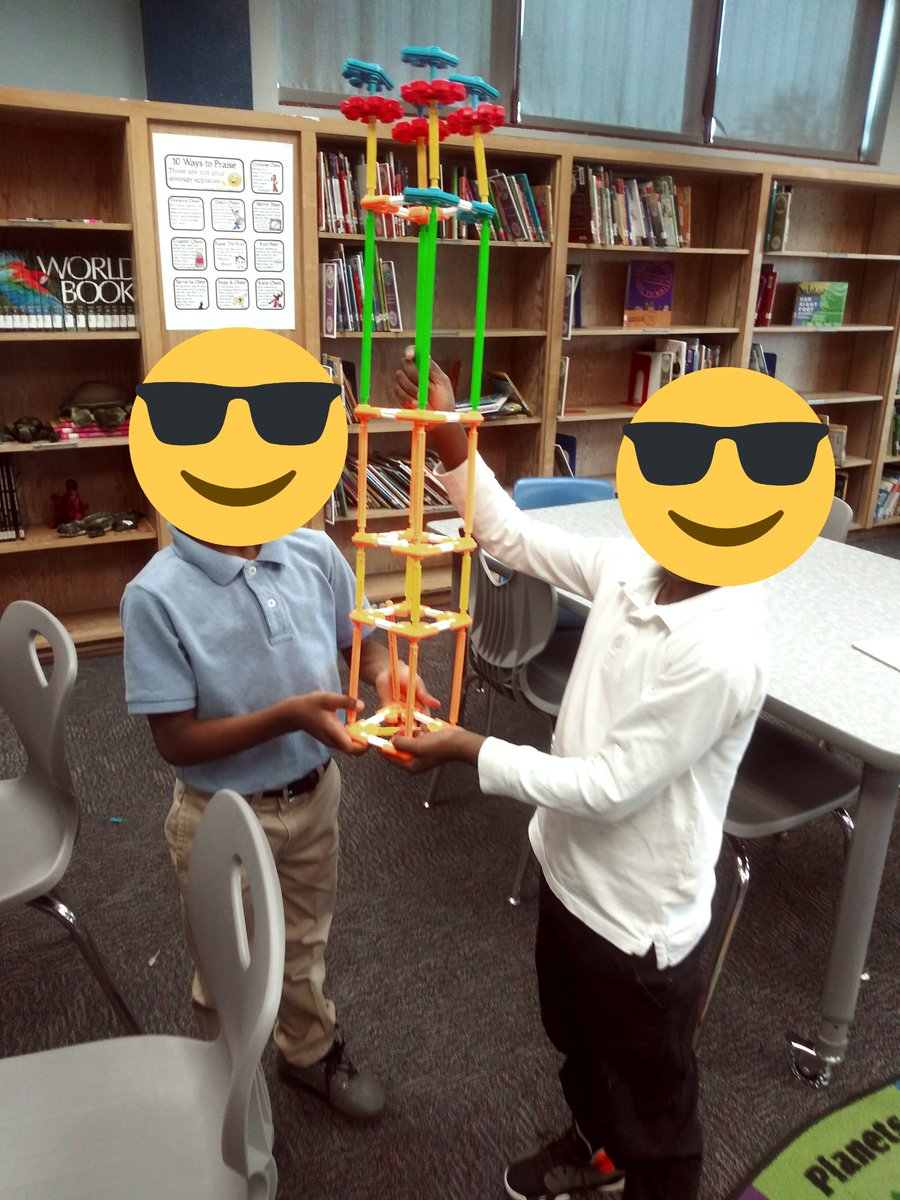 These 1st grade boys are so proud of their tower! @DISD_Libraries @HeartofAmericaF @AbbVieUS