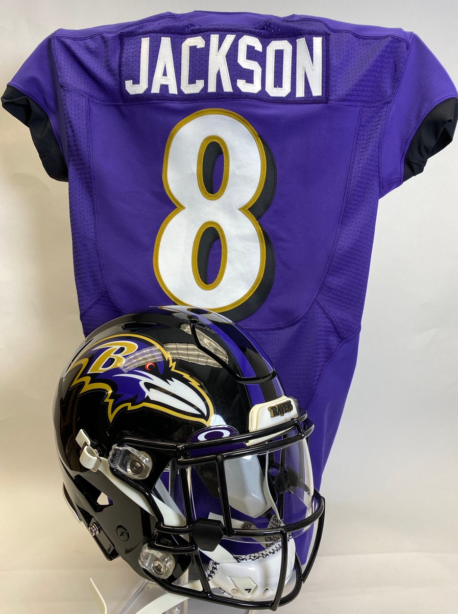 Recently received at the Hall: a jersey and helmet worn by QB @Lj_era8 during the 2019 @NFL season. These will go on display later this month in our Pro Football Today Gallery to commemorate Jacksons MVP season. @Ravens | #RavensFlock