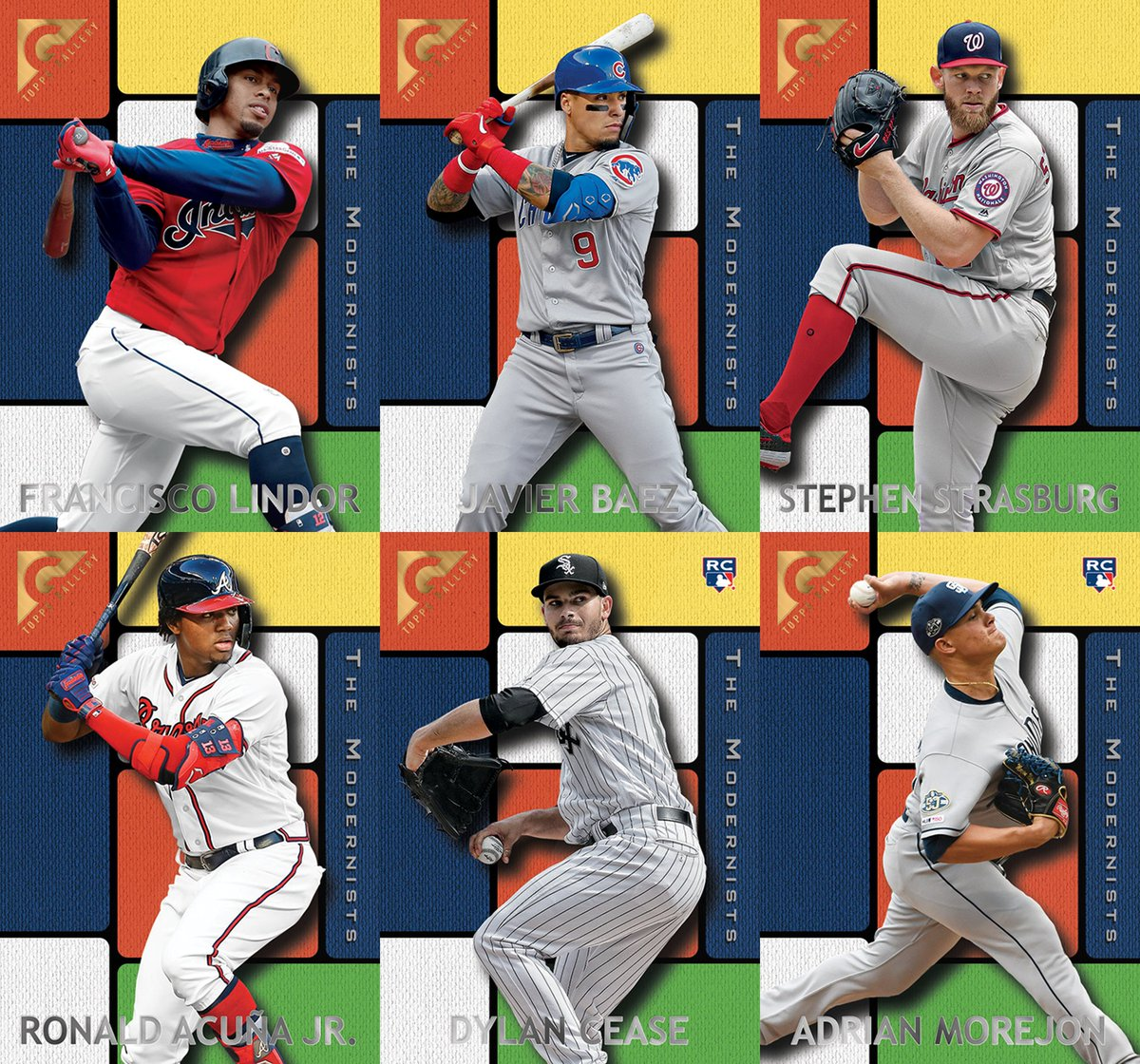 Week 8 of the #ToppsThrowbackThursday set features the 1996 Topps Gallery - The Modernist design.  #43 Francisco Lindor, Indians #44 Javier Baez, Cubs #45 Stephen Strasburg, Nationals #46 Ronald Acuña Jr., Braves #47 Dylan Cease, White Sox (RC) #48 Adrian Morejon, Padres (RC)