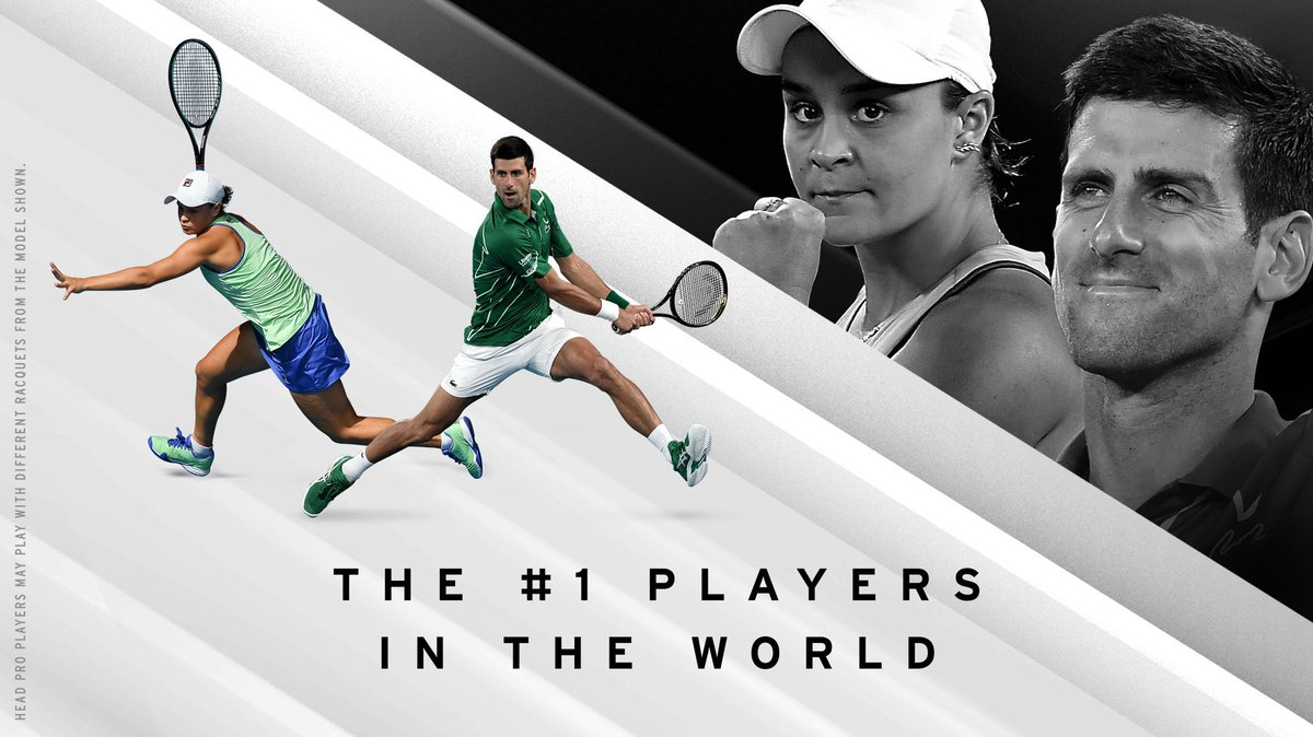 Proud of our two world number 1 players. 🌏1️⃣🔝 What else does the year have in store for @DjokerNole and @ashbarty? #TeamHEAD https://t.co/iDd2fYDs5D