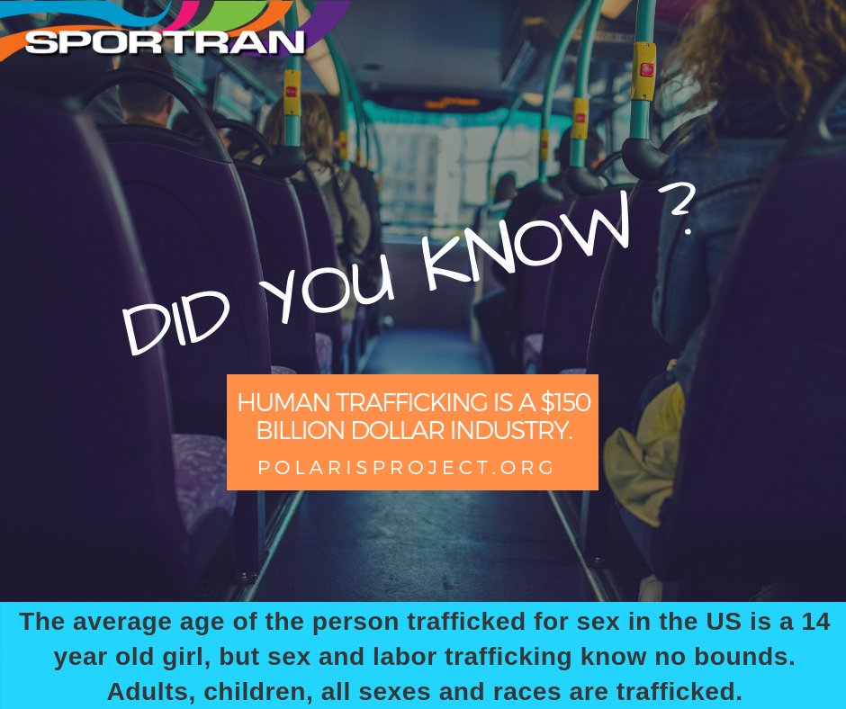 Human trafficking can happen to anyone anywhere. Learn the signs - visit http://polarisproject.org today.  #RideSporTran #Sportran #RideWithUs #Travel #Community #LoveShreveport #HumanTrafficking #SWTA PolarisProject pic.twitter.com/mXGkGwK1N0