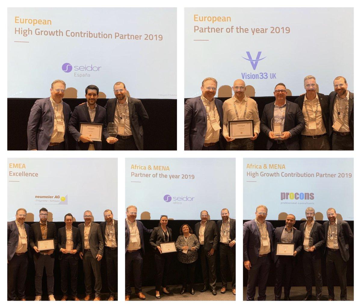 Congrats to our 2019 EMEA winners @vision33_SAP UK (European Partner of the Year), @seidor & @SeidorAfrica (European Partner w/ High Growth Contribution & Africa-MENA Partner of the Year), @Procons4 (Africa-MENA Partner w/ High Growth Contribution) & @neumeierAG (Excellence)pic.twitter.com/TYSvLYk3DZ