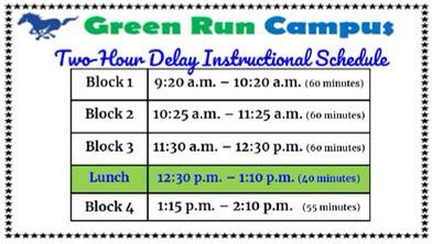 Alright Stallions.... here's our two hour delay schedule for tomorrow!! ❄️❄️❄️❄️❄️❄️❄️❄️❄️
