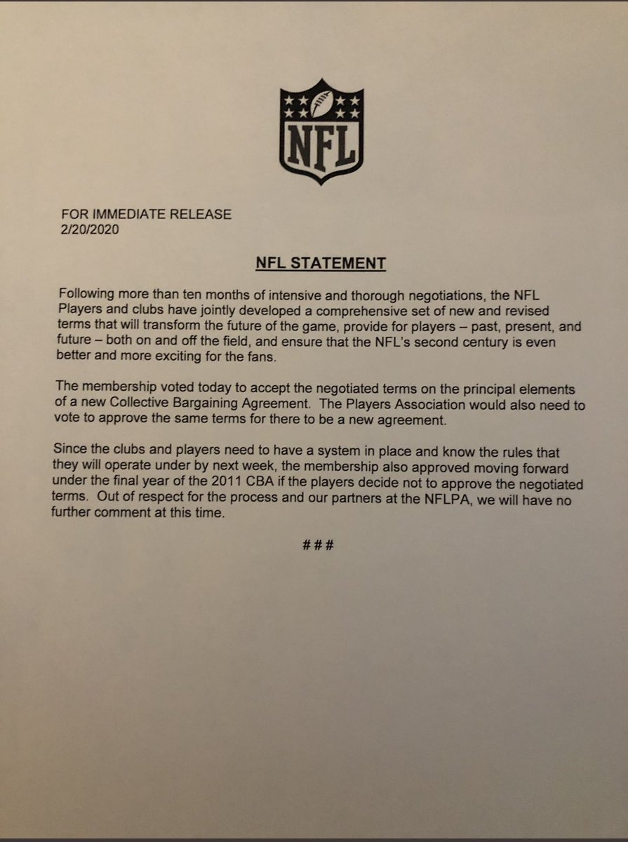 Here is the memo that the NFL has accepted the terms of the new proposed CBA: