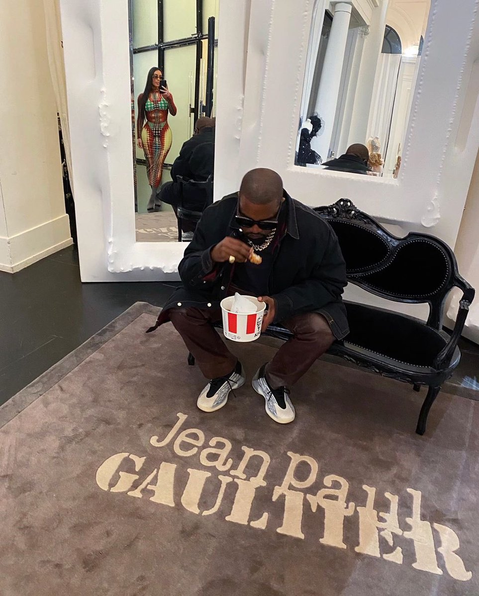 Ye rocking the QNTM OG in Paris. Place your order below 🍗
