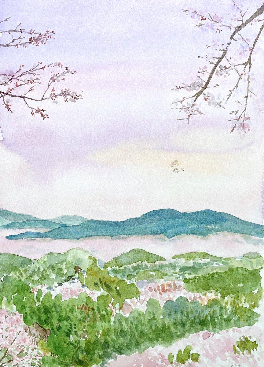 吉野山の上空を楽しむコウペンちゃん
