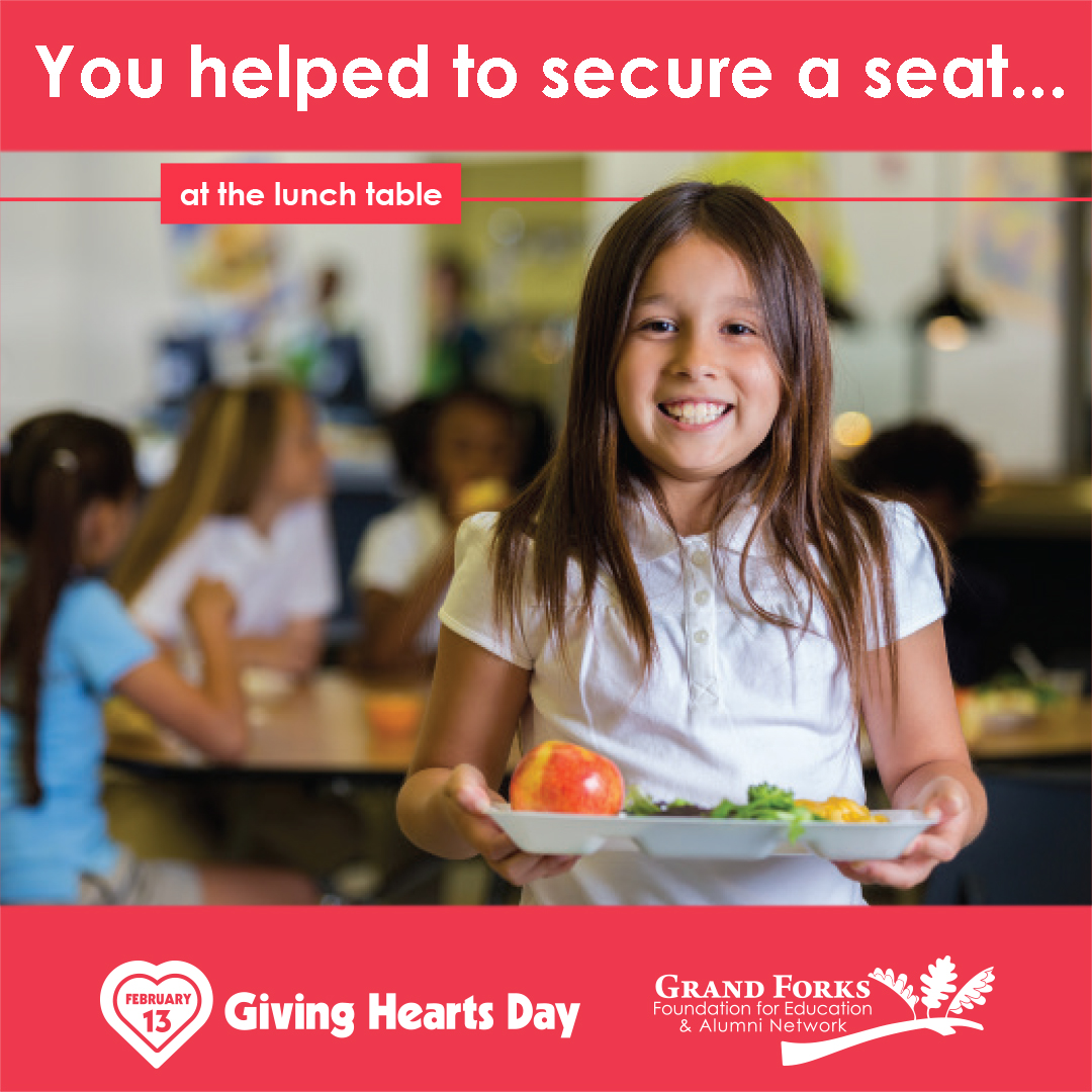 "Thank you for helping us ""secure more seats"" at the lunch table for our @GFSchools students in need on #GivingHeartsDay!!! #secureaseat #GFSchools #ILoveGF #GFisCooler #GFisKinder"