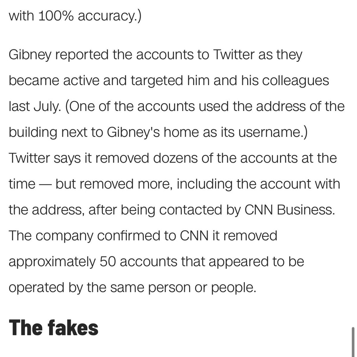 One account targeting @EJGibney used the address of the building next to Gibney's home as its username.  Nasty stuff.