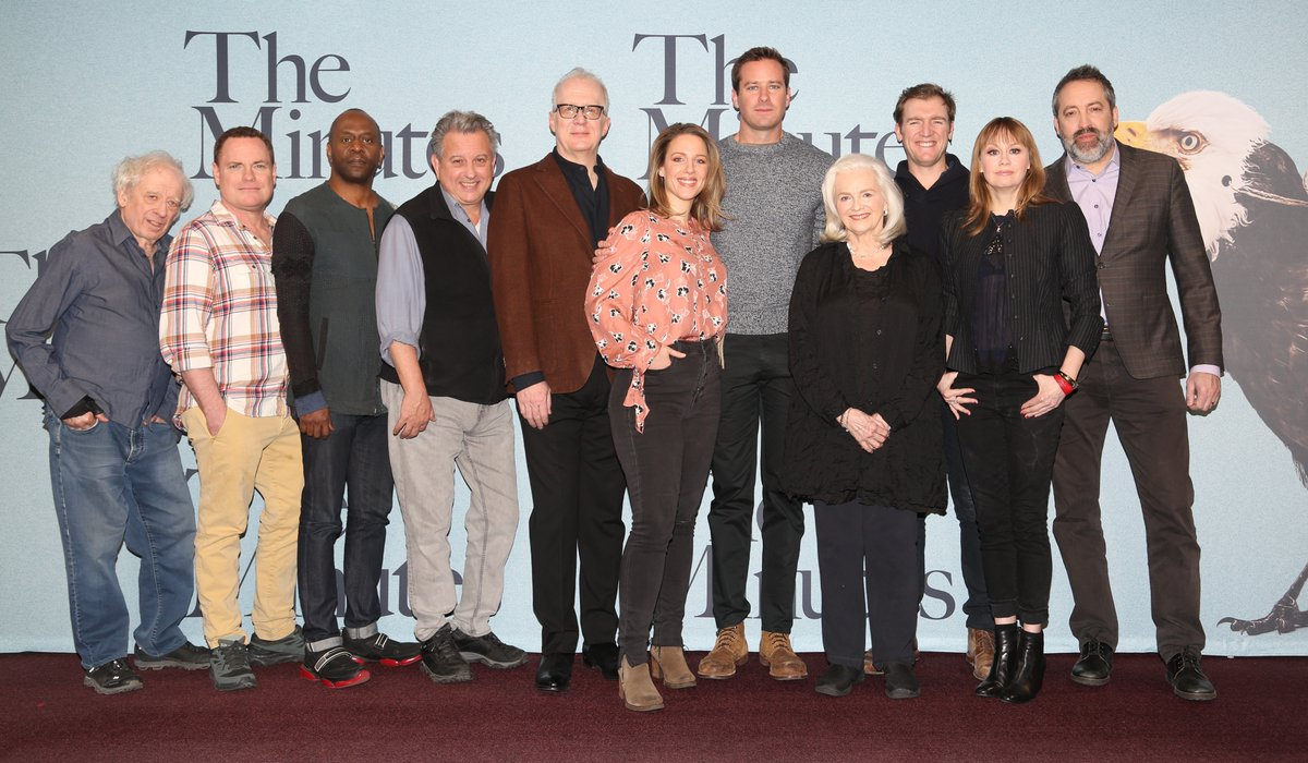 First look at @armiehammer & the cast of #TheMinutes (Austin Pendleton, Danny McCarthy, K. Todd Freeman, Jeff Still, Tracy Letts, Jessie Mueller, Blair Brown, Cliff Chamberlain, Sally Murphy, Ian Barford) attending the photocall in New York This morning.