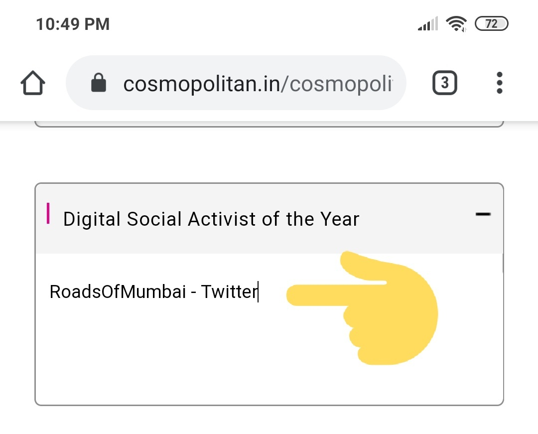 Dear Mumbaikars, Cosmopolitan India Magazine has opened nomination entries for Blogger Awards 2020. If you believe @RoadsOfMumbai has helped to escalate the voice of Mumbaikars and bring awareness for road safety, please go to this link & nominate me. cosmopolitan.in/cosmopolitan-b…