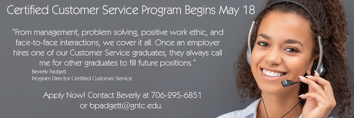 Our Certified Customer Service program starts May 18. Apply now! #GNTC #GetTrainedGetHired #CustomerService #Certified #WorkforceDevelopment #TechnicalEducation #TechEd #Management #WorkEthic #Career http://gntc.smartcatalogiq.com/2019-2020/Semester-Catalog/Programs-of-Study-Business/Certified-Customer-Service-Specialist-CC81-Certificate…pic.twitter.com/RzRMLt3FdB