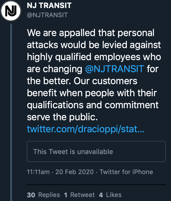 Ryan Hutchins On Twitter Nj Transit Deleted This Tweet After An Angry Response From Journalists And Riders